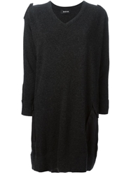 Zucca Patch Details Sweater Dress Grey