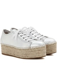 Miu Miu Platform Metallic Leather Sneakers Silver