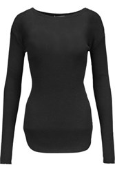 Helmut Lang Ribbed Cotton And Angora Blend Top Black