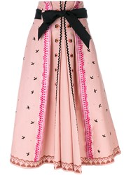 Temperley London Poppy Field Skirt Women Cotton 12 Pink Purple