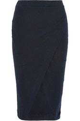 Enza Costa Wrap Effect Cotton And Cashmere Blend Midi Skirt Blue