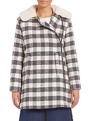 See By Chloe Oversized Checkered Faux Fur Coat Charcoal