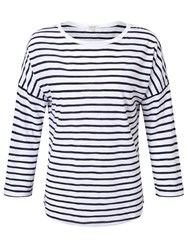 Jigsaw Cotton Slub Stripe Slouchy Tee Navy