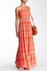 Tbags Ruffle Trimmed Maxi Dress Red