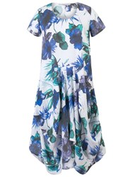 Chesca Floral Print Linen Dress White Blue