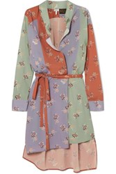 Loewe Paula's Ibiza Belted Printed Crepe De Chine Wrap Dress Green