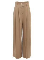 Burberry Swanage Paperbag Waist Crepe Wide Leg Trousers Beige