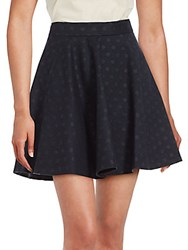 Brunello Cucinelli Polka Dotted Wool Skirt Navy