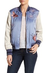 Max Studio Butterfly Bomber Jacket Blue