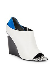 Alexander Wang Alla Open Toe Suede Paneled Leather Wedge Booties Multi