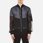 Msgm Men's Fabric Detail Bomber Jacket Black