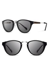 Women's Shwood 'Ainsworth' 49Mm Polarized Sunglasses Black Silver Grey Polar