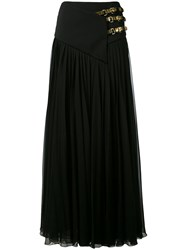 Lanvin Belted Maxi Skirt Women Silk Leather Polyester 38 Black