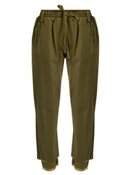 Haider Ackermann Polonium Raw Hem Cotton Trousers Khaki