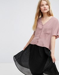Asos Cropped V Neck Kimono Blouse Winter Lilac Purple