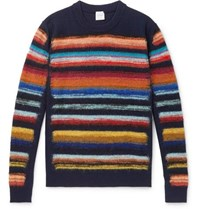 Paul Smith Striped Wool Blend Sweater Navy