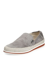 Prada Suede Slip On Espadrille Gray