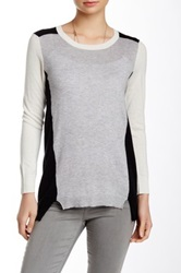 Cullen Colorblock 3 4 Sleeve Crew Neck Silk Blend Sweater Gray
