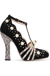 Gucci Embellished Elaphe Trimmed Suede Pumps Black