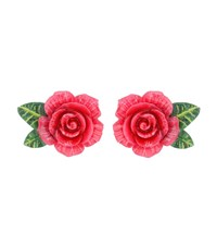 Dolce And Gabbana Rose Clip On Earrings Pink