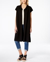 Eileen Fisher Silky Cap Sleeve Duster Cardigan Black