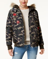 American Rag Juniors' Faux Fur Trim Camo Jacket Created For Macy's Olive