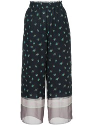 Astraet Patterned Wide Leg Trousers Blue