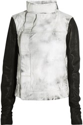 Rick Owens Leather And Wool Paneled Denim Jacket Gray