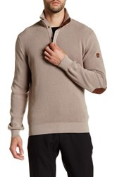 English Laundry 1 4 Leather Pull Zip Faux Suede Elbow Patch Pullover Beige