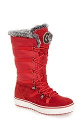 Santana Canada Women's 'Mackenzie' Faux Fur Waterproof Boot Red Suede