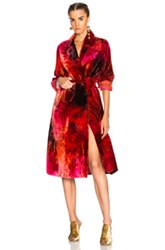 Raquel Allegra Cropped Trench In Ombre And Tie Dye Red Ombre And Tie Dye Red