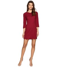 Brigitte Bailey Alyxa Shift Dress With Scallop Trim Wine Women's Dress Burgundy