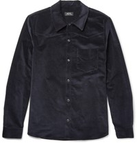A.P.C. Slim Fit Stretch Cotton Corduroy Western Shirt Navy