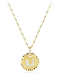 David Yurman Initial U Cable Collectible Necklace With Diamonds