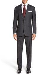 Andrew Marc New York Men's Big And Tall Andrew Marc 'Carlton' Classic Fit Plaid Wool Suit Charcoal