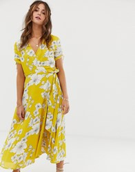 Cleobella Myra Floral Wrap Midi Dress Yellow