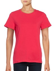 Lord And Taylor Crew Compact Cotton Tee Pink