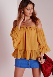 Missguided Frill Hem Cold Shoulder Blouse Mustard Yellow