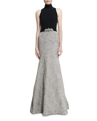 Theia Mock Neck Sleeveless Mermaid Gown White