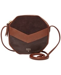 Fossil Jules Leather Octagon Crossbody Neutral Multi