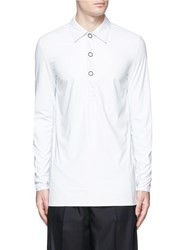 Acne Studios 'Sil' Coated Faux Leather Polo Shirt White