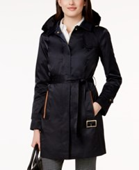 Jones New York Hooded Water Resistant Belted Trench Coat Topside Navy