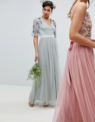 Maya Embellished Tulle Sleeve Maxi Tulle Dress In Green Green Lily