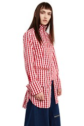 Marques Almeida Detachable Bustier Gingham Shirt Red Gingham