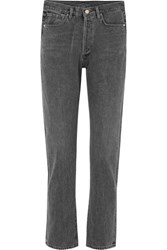 Gold Sign Goldsign Benefit High Rise Straight Leg Jeans Charcoal