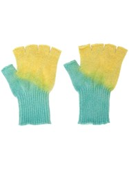 The Elder Statesman Fingerless Gloves Green