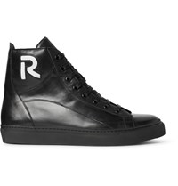 Raf Simons Leather High Top Sneakers Black