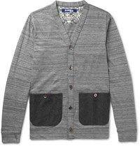 Junya Watanabe Slim Fit Felt Trimmed Melange Cotton Cardigan Gray
