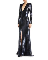 Rubin Singer Plunging Long Sleeve Fitted Sequined Evening Gown Navy