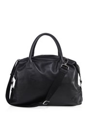 Giorgio Armani Solid Leather Holdall Black